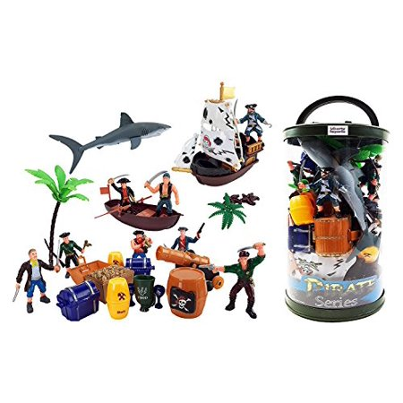 Pirate Ship Shape (Bucket of Pirate Action Figures Playset with Boat, Treasure Chest, Cannons, Shark, Pirate Ship, and)