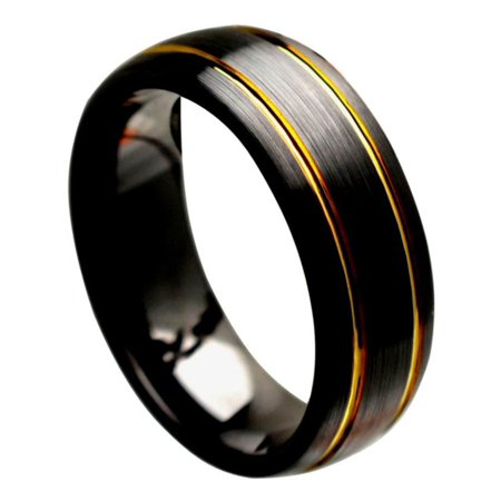 8mm Ceramic Brushed Finish with Yellow Gold Plated Grooves Wedding Band Ring For Men Or Ladies 8 Mm Ceramic Ring