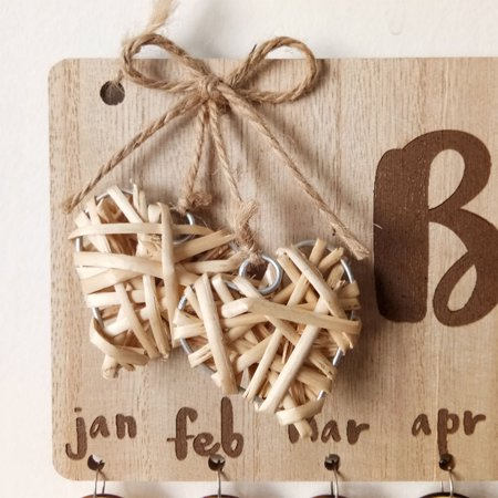 Wooden Calendar Birthdays Round Printed Lowercase Wall Calendar Sign Special Dates Reminder Board Home Hanging Decor Gift Style:As shown - image 7 de 7