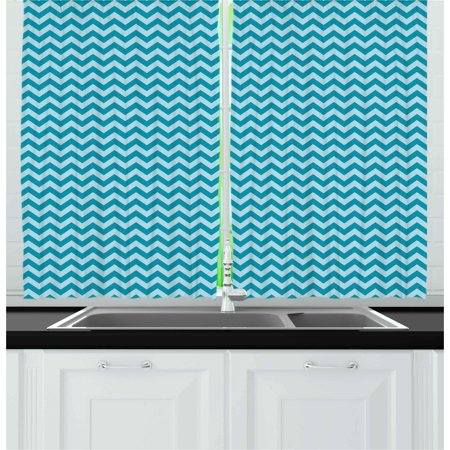 Chevron Curtains 2 Panels Set, Zigzags in Sea Colors Ocean Waves Nautical Theme Sailboat Design Sea Breeze, Window Drapes for Living Room Bedroom, 55W X 39L Inches, Teal Pale Blue, by Ambesonne ()