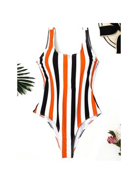 Women Beautiful One Piece Striped Zipper Lingerie