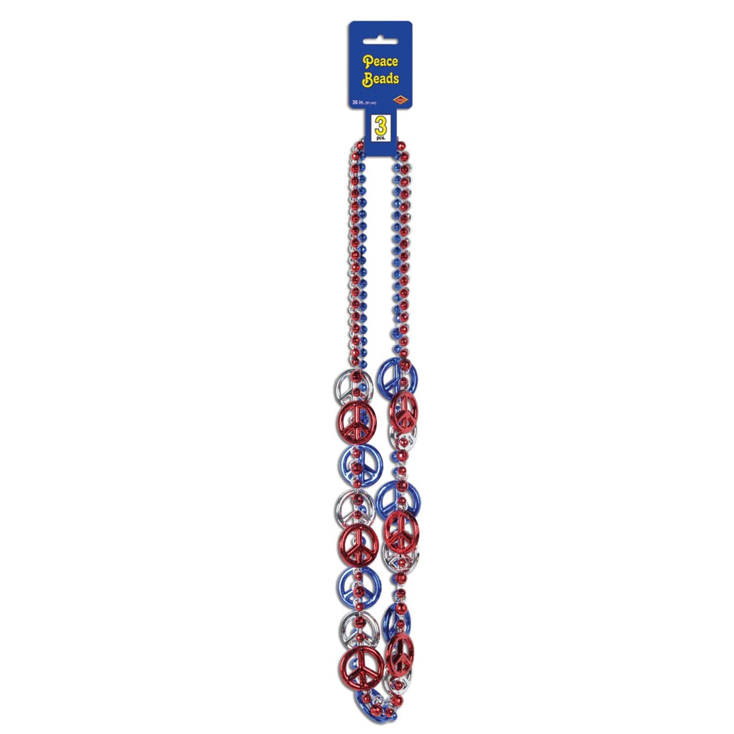 """Club Pack of 12 Patriotic Red, Silver and Blue """"Peace Sign"""" Party Bead Necklaces 36"""""""