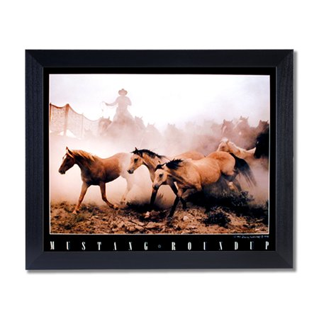 Wild Mustang Horse Roundup Western Cowboy Wall Picture Black Framed Art Print - Western Frame