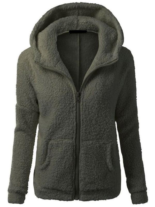 EFINNY Women's Slim Hooded Thicken Fleece Jackets Winter Warm Outerwear