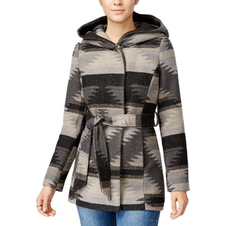 - Coffee Shop Womens Hooded Belted Coat