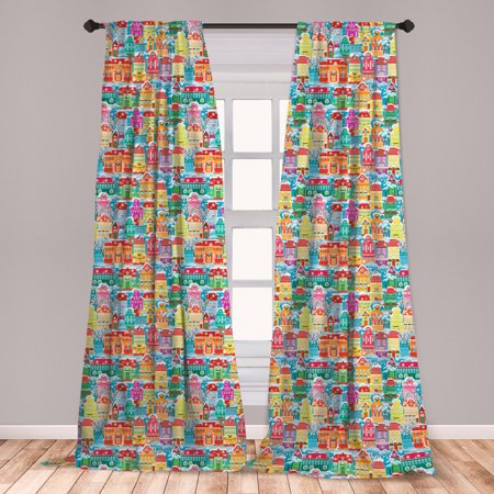 City Curtains 2 Panels Set, Colorful Town Design Ornamental Winter Holiday Christmas Time Architecture Pattern, Window Drapes for Living Room Bedroom, Multicolor, by Ambesonne ()