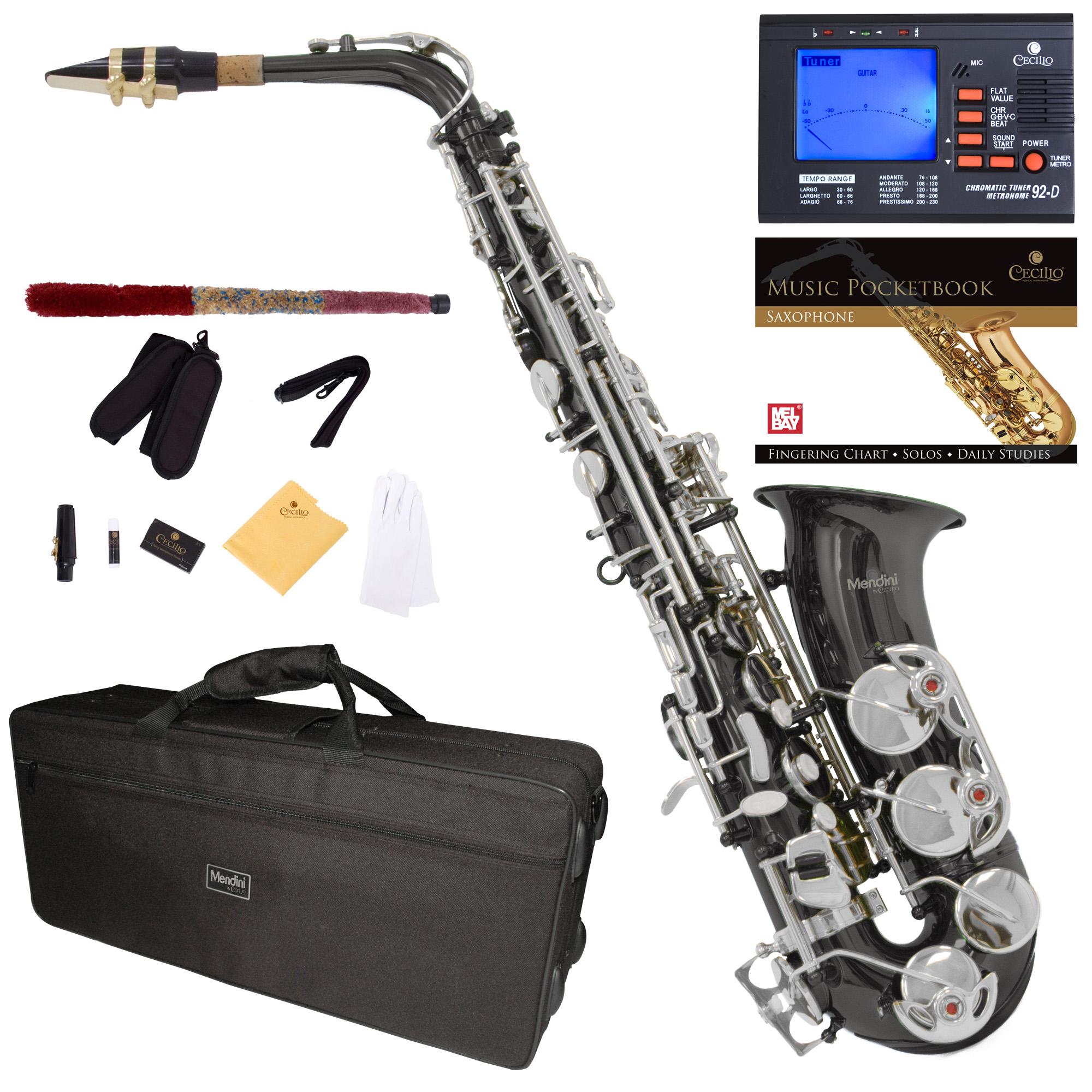 Mendini Black Nickel Plated Silver Keys Eb Alto Saxophone with Tuner, 10 Reeds, Pocketbook, Mouthpiece and Case, MAS-BNN