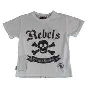 Religion Boy's Skull/Bones Printed Short Sleeve Shirt 8-9 Years White
