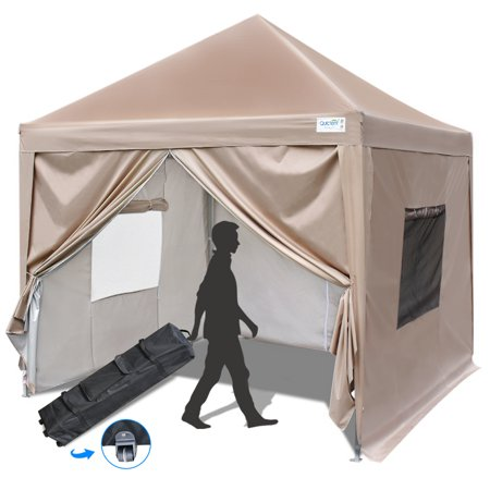 Upgraded Quictent 8x8 EZ Pop Up Canopy Gazebo Party Tent with Mesh Windows and Sides Waterproof-9 Colors (Beige)