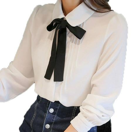Women Chiffon Shirts Vintage Long-sleeve Bow Knot Blouses Peter Pan Collar Preppy Offical Shirt