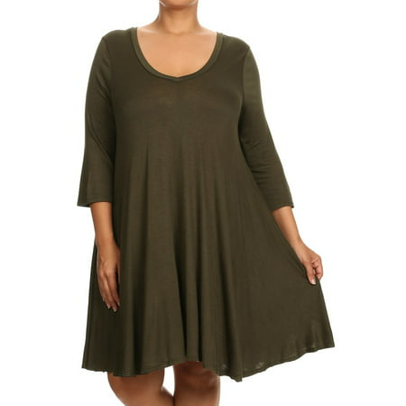Women's Trendy Style Plus Size 3/4 Sleeve Relaxed Style Solid Dress