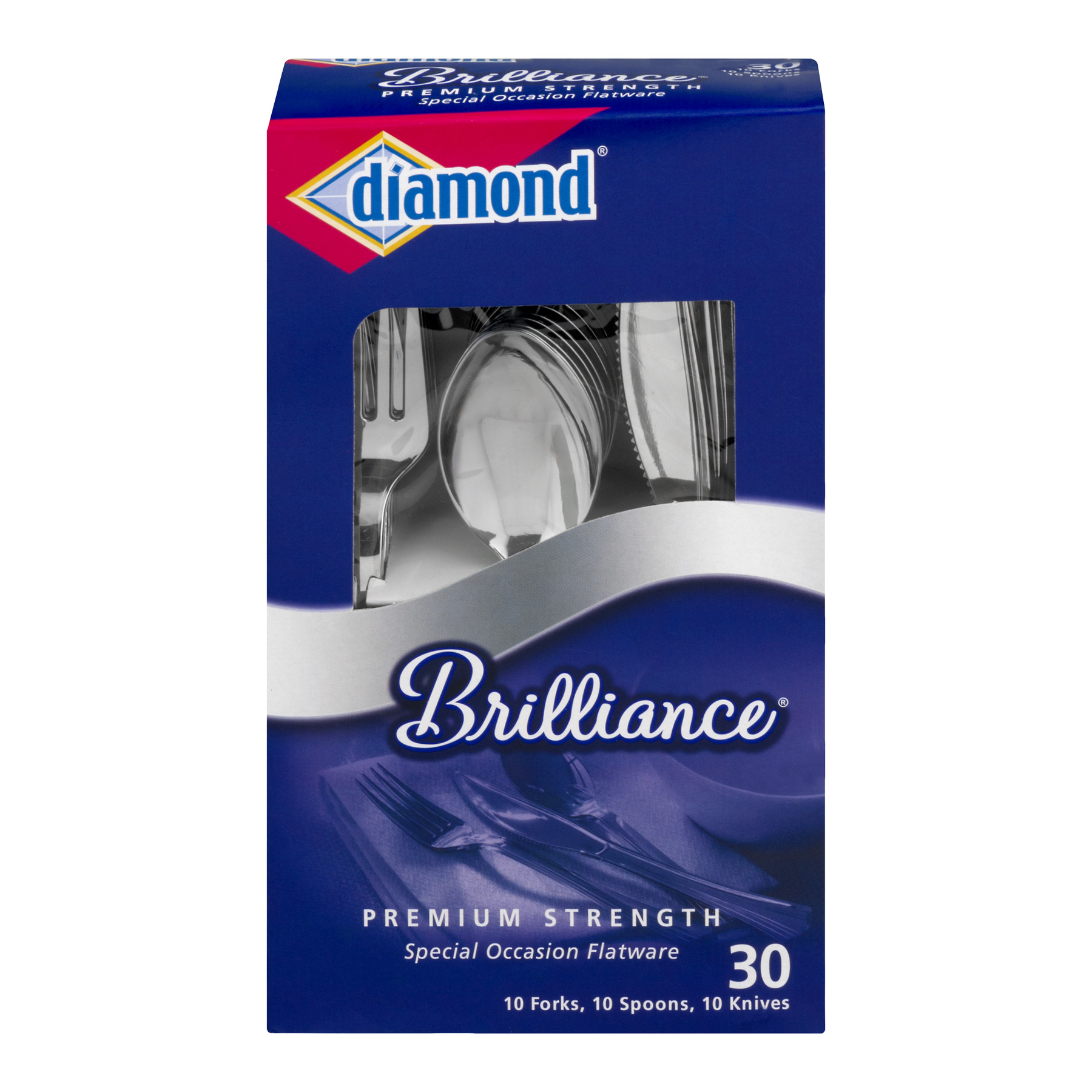 Diamond Brilliance Plastic Flatware, 30 ct