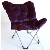 Zenithen Butterfly Chair with High Gloss Silver Frame in Purple Tufted Velvet Fabric