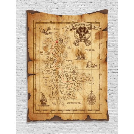 Island Map Tapestry, Super Detailed Treasure Map Grungy Rustic Pirates Gold Secret Sea History Theme, Wall Hanging for Bedroom Living Room Dorm Decor, Beige Brown, by Ambesonne](Pirate Theme Decor)
