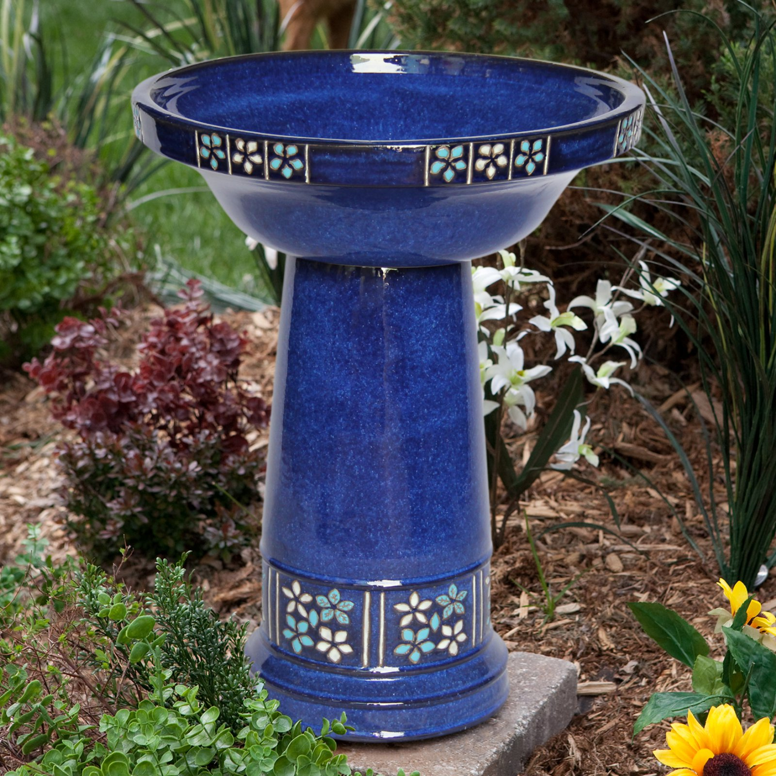 Smart Solar Ceramic Solar Birdbath by Birdbaths