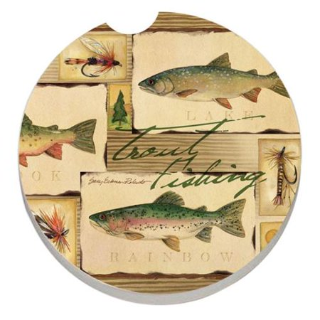 Absorbent stone car coaster trout fishing set of 2 - Stone absorbent coasters ...