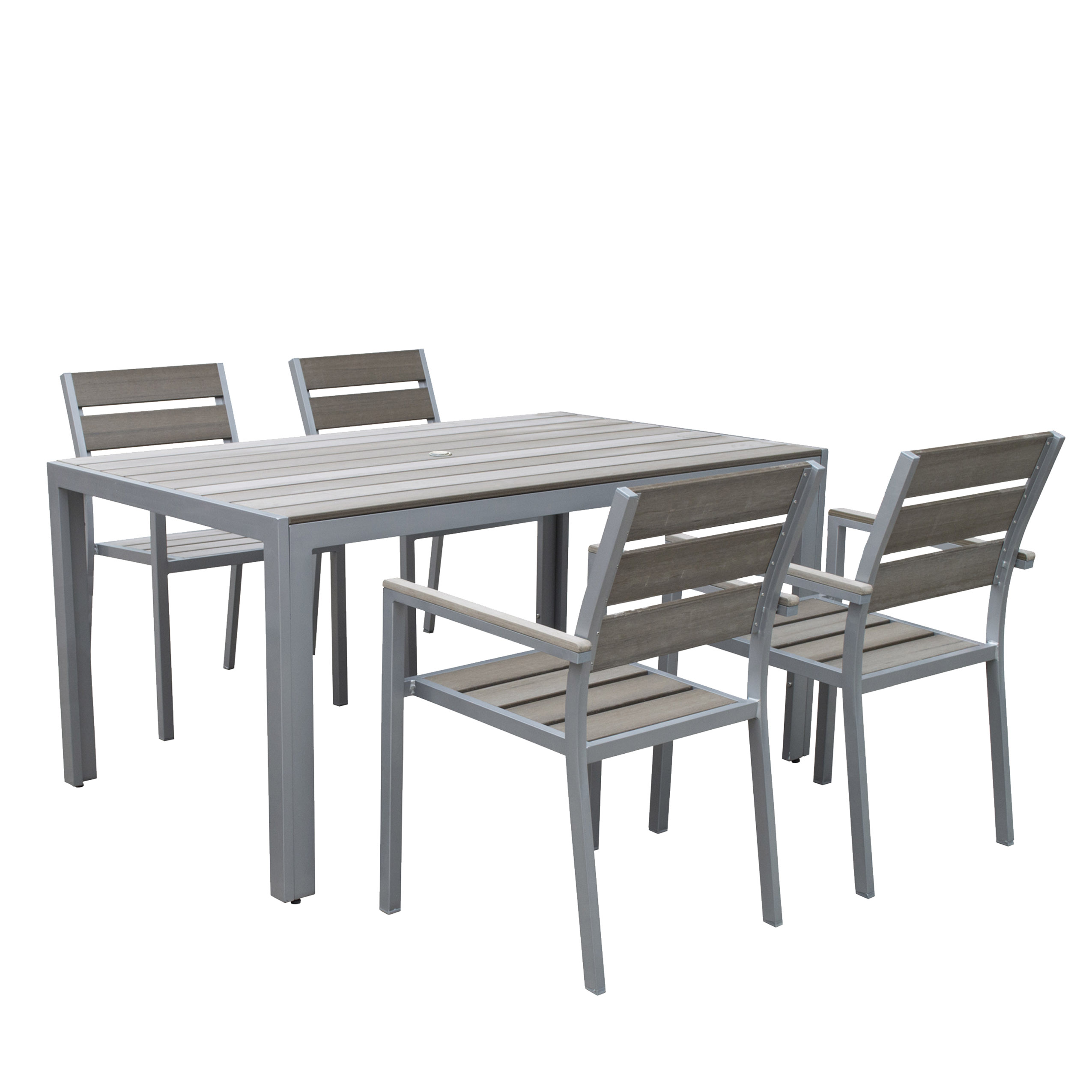 CorLiving 5pc Sun Bleached Grey Outdoor Dining Set