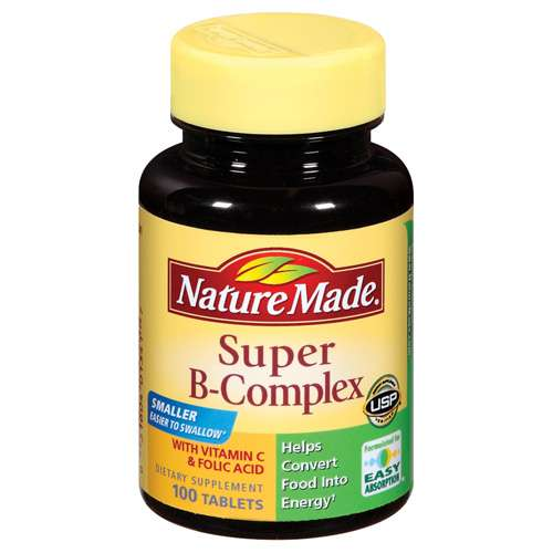 Nature Made Super B-Complex With Vitamin C & Folic Acid Tablets Dietary Supplement 100 ct