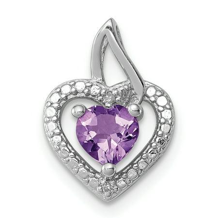 925 Sterling Silver Rhodium Plated Pink Quartz Diamond Heart Shaped Pendant - image 2 de 2