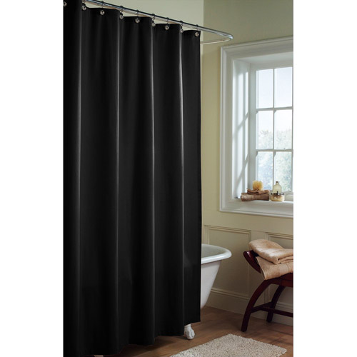 Canopy Microfiber Fabric Shower Curtain Liner, Rich Black