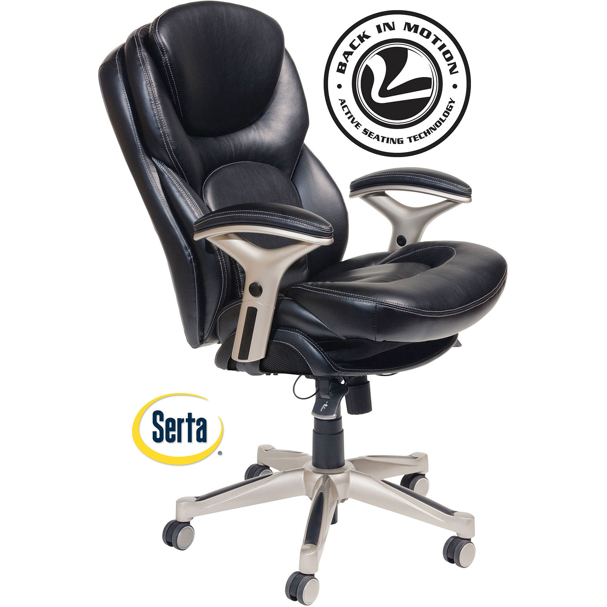 Serta Back in Motion fice Chair in Black Bonded Leather