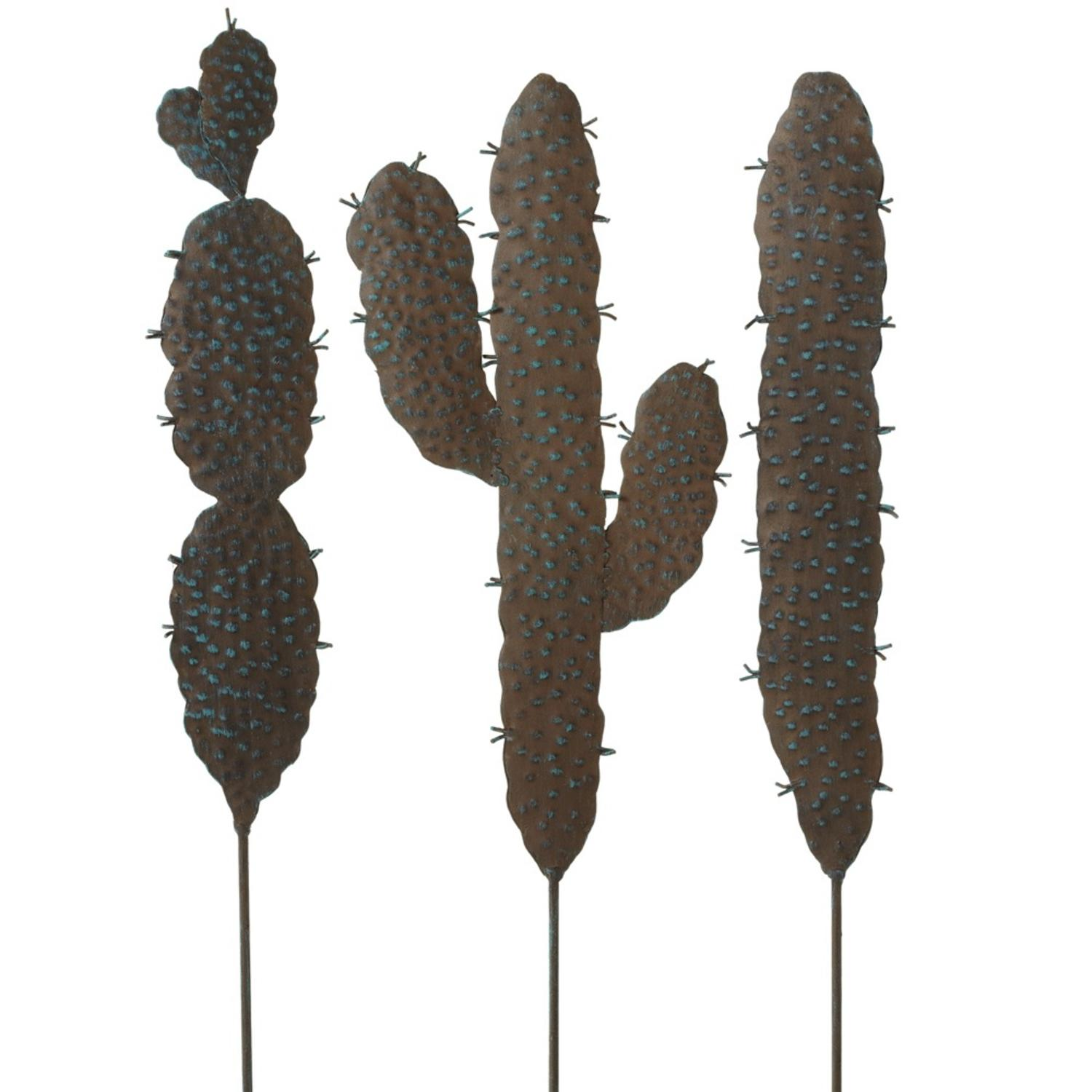 """Set of 3 Brown and Green Rusted Finish Cactus Decorative Garden Stakes 25"""""""