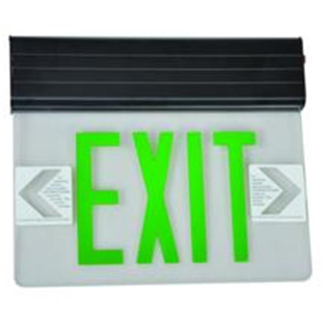 Morris Products 73317 Surface Mount Edge Lit Led Exit Signs Green On Clear Panel Black Housing