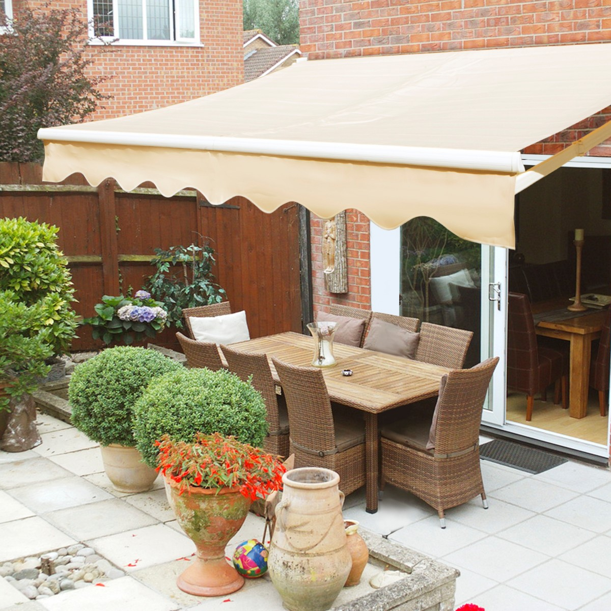 XtremepowerUS 12'x10' Retractable Patio Awning, Manual,Tan