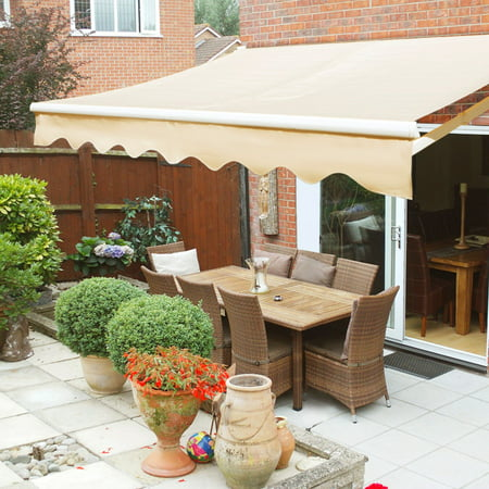 XtremepowerUS 12'x10' Manual Retractable Patio Awning, Tan