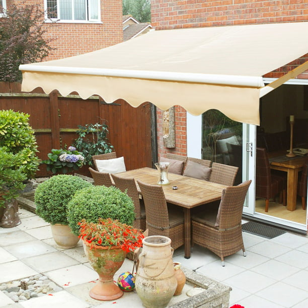 Xtremepowerus 8 X6 Manual Retractable, Retractable Canvas Patio Awnings