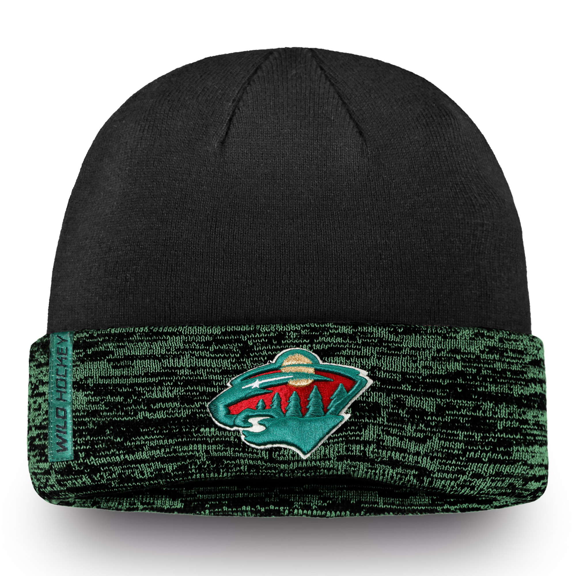 Minnesota Wild Fanatics Branded Authentic Pro Rinkside Cuffed Knit Hat - Black/Green - OSFA
