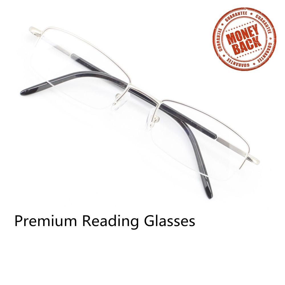 Ebe Men Black Rectangle Half Rim Spring Hinge Reading Glasses a963