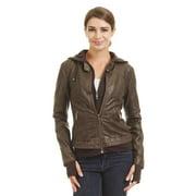 MBJ WJC1433 Womens Hoodied Faux Leather biker Jacket L COFFEE