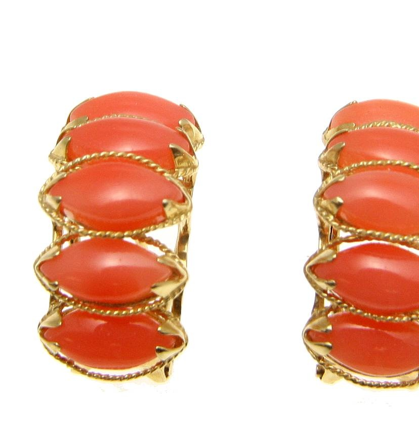 Genuine natural marquise pink coral earrings solid 14k yellow gold omega backs by