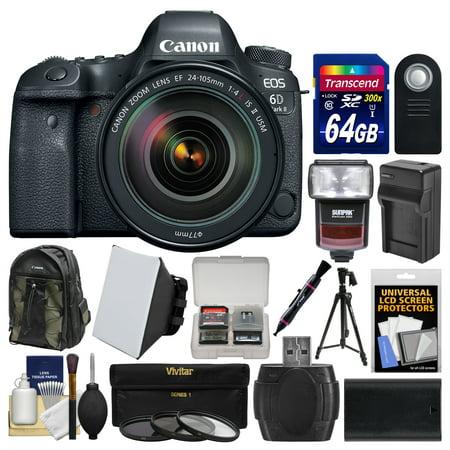 Canon Eos 6D Mark Ii Wi Fi Digital Slr Camera   Ef 24 105Mm F 4L Is Ii Usm Lens   64Gb Card   Backpack   Flash   Battery Charger   Tripod   Filters Kit