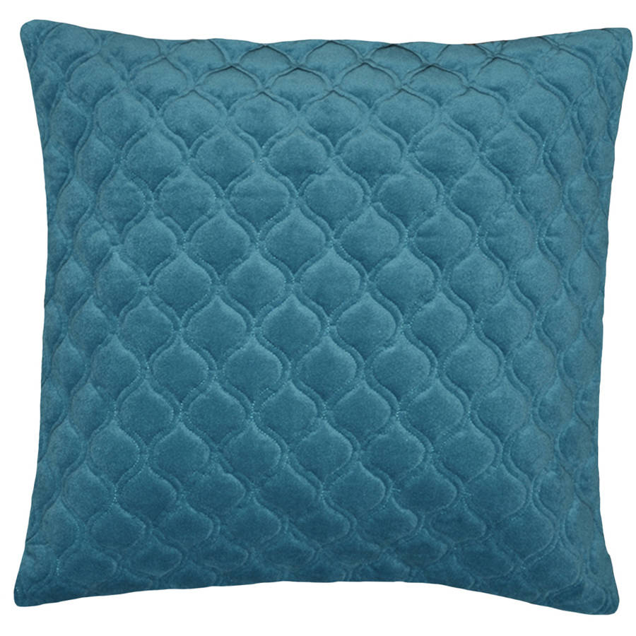 "Spencer Quilt Ogee 20"" x 20"" Throw Pillow, Blue"
