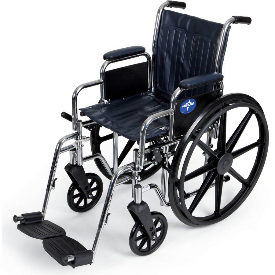 "Medline Extra Wide 20"" Wheelchair, Swing Away Legs, Desk Length Arms"