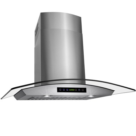 "Image of AKDY 36"" Stainless Steel Wall Mount Range Hood with Tempered Glass & Touch Control Panel"