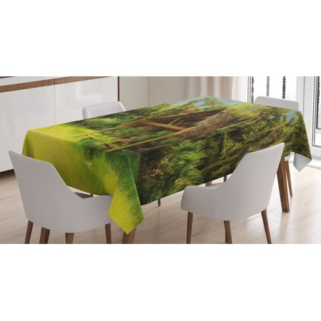 Tiki Bar Decor Tablecloth, Tiki Hut in Dreamy Fantasy Forest Tropical Island Wildlife Greenery, Rectangular Table Cover for Dining Room Kitchen, 60 X 90 Inches, Green Blue Brown, by Ambesonne - Tiki Hut Party