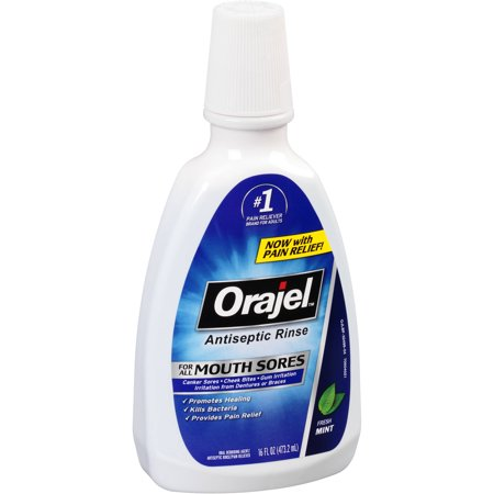 Orajel Antiseptic Rinse for All Mouth Sores, Mint  - 16