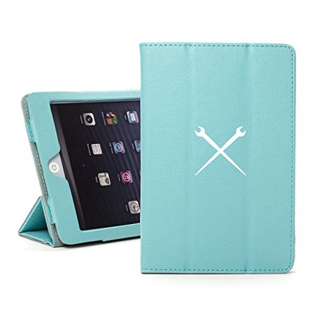 For Apple iPad Mini 1/2/3 Light Blue Faux Leather Magnetic Smart Case Cover Spud Wrenches Iron Worker
