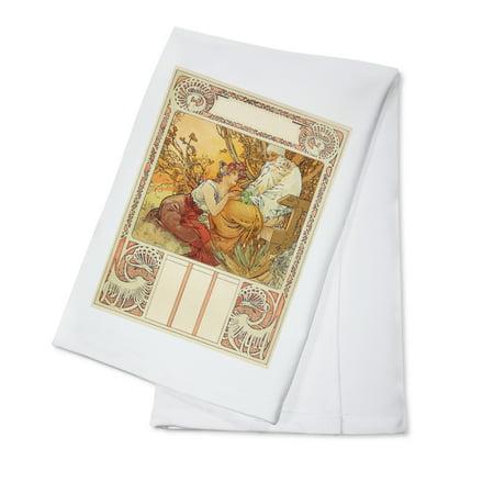 Ages of Man (Old Age) Calendar Vintage Poster (artist: Mucha, Alphonse) France c. 1899 (100% Cotton Kitchen (Calendar Linen Tea Towel)