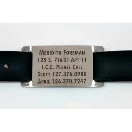 Custom Ink Bracelets (Alzheimers Dementia / Identification Bracelet with Silver Tag - Free Dark Laser Engraving Custom)