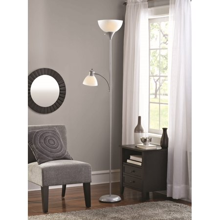 Mainstays Floor Lamp And Reading Lamp Silver Walmart Com
