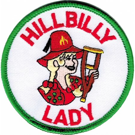 Shriner Crutch Hillbilly Lady Emblem Round Iron-On Patch [White - 3
