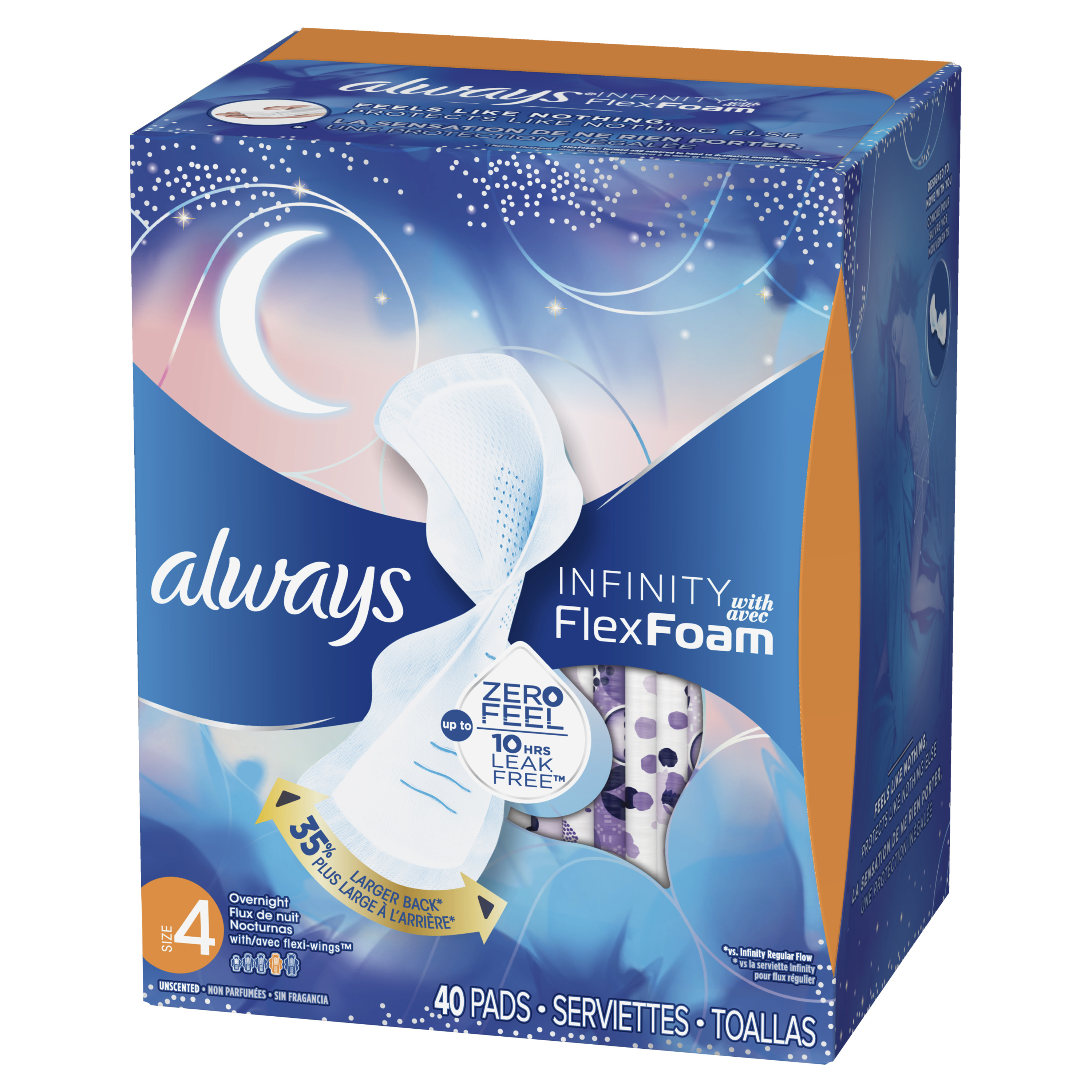 ALWAYS Infinity, Size 4, Overnight Sanitary Pads with Wings, Unscented, 28  Count