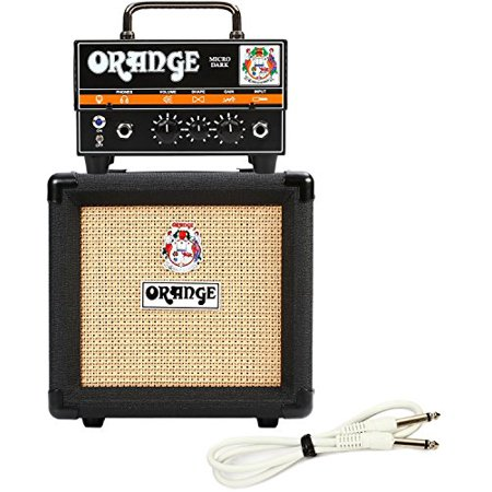 Orange Micro Dark Terror Hybrid Amp Head Mini Stack Combo w/ Cabinet and Speaker Cable (Amp Full Stack)