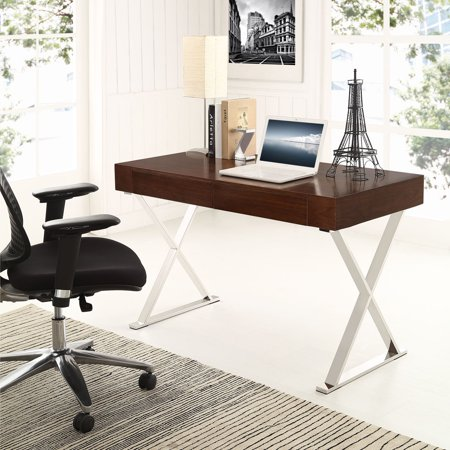 Modway Sector Office Desk With Stainless Steel Frame Multiple Colors