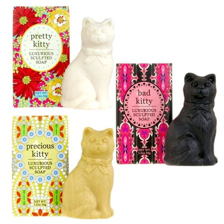 Greenwich Bay Trading Company Kitty Cat Luxurious Shea Butter Sculptured Soap Gift Set (Set of 3)