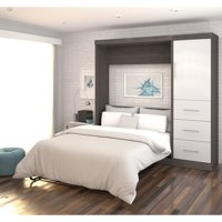 """Nebula by Bestar 84"""" Full Wall Bed Kit with Storage and a Door and 3-Drawer Set in Bark Gray & White"""